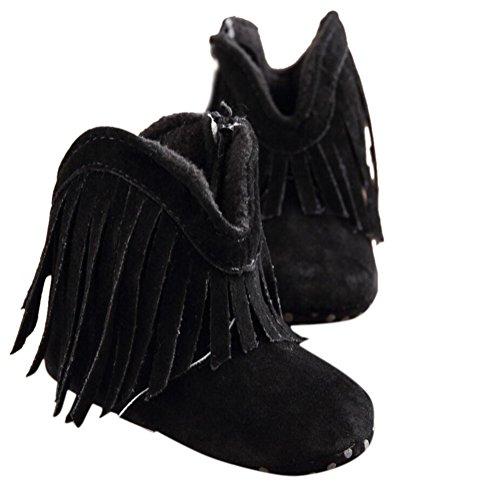 YYF Baby-Schuhe Quaste Premium Weiches Fell Warme Winter Anti-Slip-Schneeschuh Krippe Shoes Schwarz