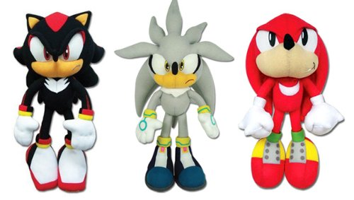 Set of 3 Great Eastern Sonic the Hedgehog Plush - Shadow/Silver/Knuckles