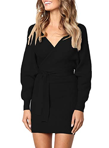 Women's Long Sleeve Wrap V Neck Knit Sweater Dress Loose Pullover Tops with Belted Pencil Midi Bodycon Knee Length Solid Black M 8 (Belted Wrap Sweater)