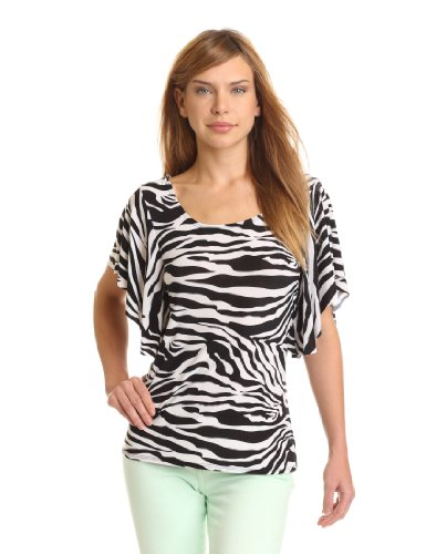 (Star Vixen Women's Angel Sleeve Top, Zebra Print, Large)