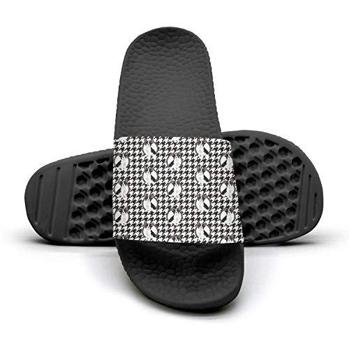 SDACZDSCDDV Black and White French Bulldog Houndstooth Black Slides Shoes Sandals Flip Flops Outdoorlightweight MenHockey Foam