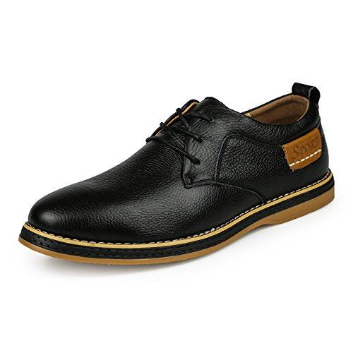 LYZGF Hommes, Quatre Saisons, Britannique, Entreprise, Casual, Mode, Jeunesse, Dentelle, Chaussures en Cuir Black