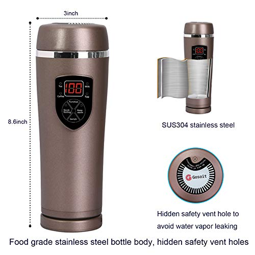 7468bbb46fd Car Heat travel mug, optional electric heating cup with temperature control  and LED temperature display ...