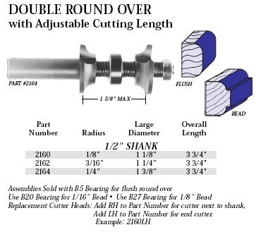 Double Roundover Router Bit - Whiteside Router Bits 2160 Double Round Over Bit with Carbide Tipped 1/8-Inch Radius, 1-1/8-Inch Large Diameter and 1/2-Inch Shank