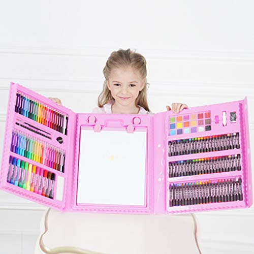 Zywtrade Children's Watercolor Brush Crayon Stationery Set Gift Box Painting Prizes Summer Training Gift Birthday Gift 176 Pieces Easel,Pink by Zywtrade (Image #6)
