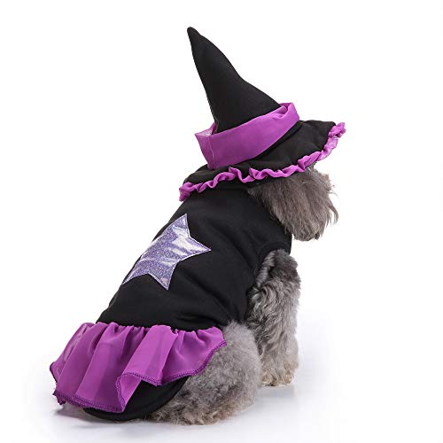 HomeMals Dog Cat Pet Clothes Arms Cat Costumes with Hat for Daily Halloween Christmas Party Purple -