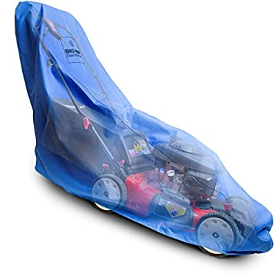 Big Blue Gardens Premium Waterproof Lawn Mower Cover - Heavy Duty 600D Marine Grade Fabric - Universal Fit - Weather, UV, and Mold Protection - Drawstring Storage Bag - Unique Blue Color Reduces Heat