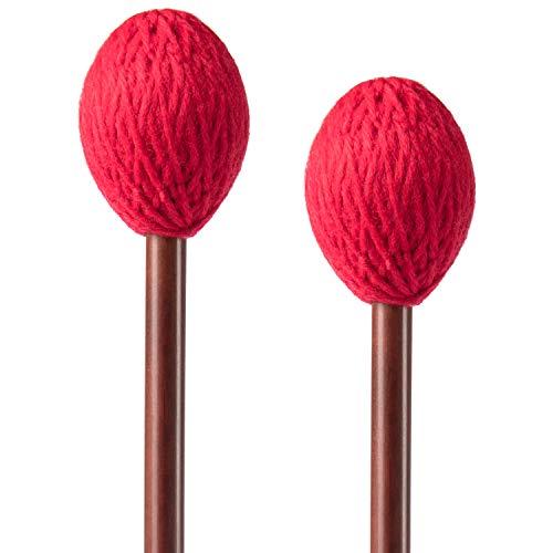 Frienda 1 Pair Medium Hard Yarn Head Keyboard Marimba Mallets with Maple Handles (Red)