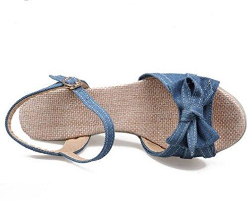 COOLCEPT Damen Mode-Event Knochelriemchen Sandalen Open Toe Keilabsatz Schuhe mit Bogen Dunkel Blau