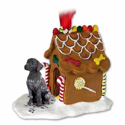GERMAN SHORT HAIR Pointer Dog NEW Resin GINGERBREAD HOUSE Christmas Ornament - Ornament Christmas Shorthaired German Pointer