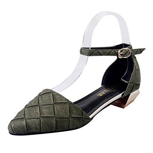 PUMPS Koreanische Version der Dicken Ferse mit dem Flachen Mund Schuhe,ein-Wort Schnalle mit Schuhen Frauen A