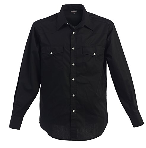 Gioberti Mens Casual Western Solid Long Sleeve Shirt With Pearl Snaps, Black, X Large