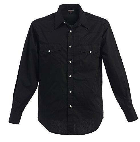 Gioberti Men's Solid Long Sleeve Western Shirt, Black, Large