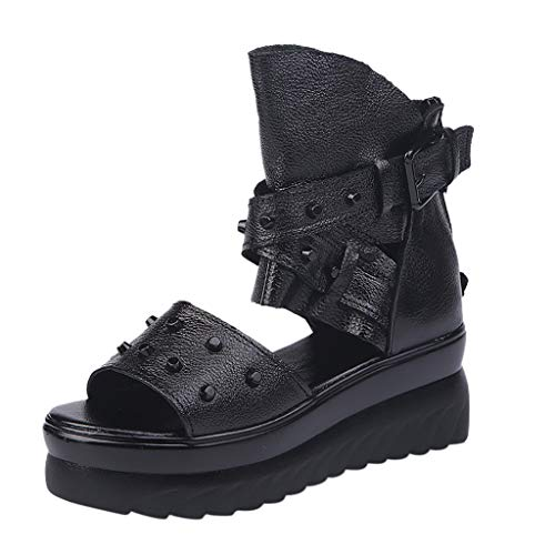 - Womens Sandals for Women Huizhuangshigong Women's Summer Roman Fish Mouth Shoes Thick Bottom Cake Rivet Wedge Sandals(41, Gray)