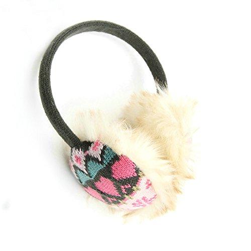 KBB Women Fashionable Winter Warm Acrylic Fluffy Earmuffs in Pink Heart Design