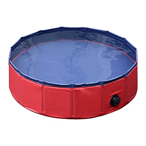 "Pawhut 12"" x 47"" Foldable PVC Pet Swimming Pool - Red and..."