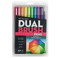 Tombow 56185 Dual Brush Pen Art Markers, brillante, paquete de 10 unidades. Marcadores mezclables, de pincel y de punta fina