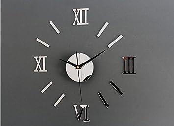 ZHUNSHI Tatuajes De Números Romanos Pared Reloj Espejo De Pared Reloj DIY Hogar Decorar Al Mudo De La Moda De Sala De Estar,14 Pulgadas,Plata: Amazon.es: ...