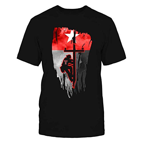 FanPrint Official Sports Apparel Men's Basic Cotton T-Shirt Texas Tech Red Raiders Lineman - Galaxy State Flag Shirt, Size 2XL, Black ()