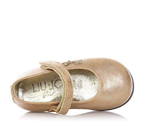 LIU JO - Ballerine couleur pêche, en cuir avec fermeture en velcro, logo en métal appliqué sur le côté, coutures visibles, fille, filles