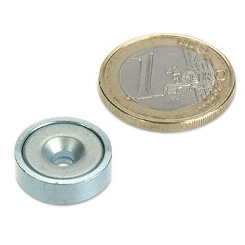 Topfmagnet verzinkter Stahltopf Werkstattmagnet Magnet mit Senkbohrung zum Anschrauben Neodym Flachgreifer /Ø 32,0 x 8,0 mm mit Senkung h/ält 30 kg