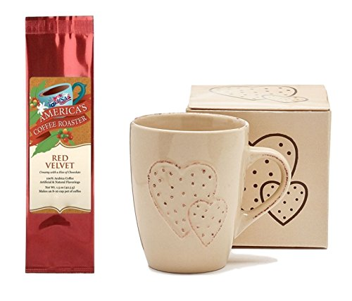 Distressed Raised Hearts with Dots Mug with Red Velvet Coffee Gift Set Bundle (2 Items)