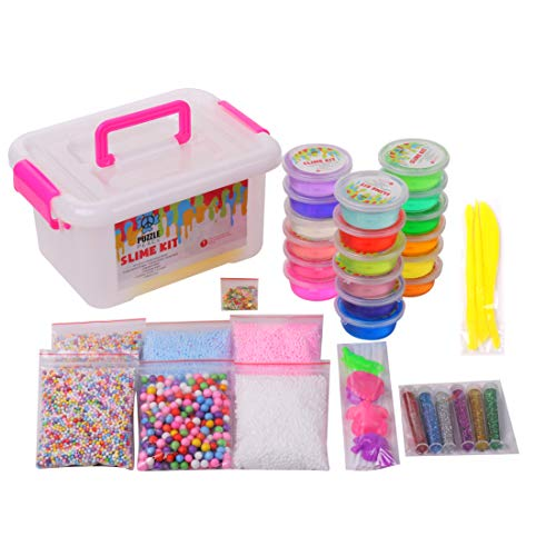 PUZZLE PEACE DIY Slime Kit Includes 18 Crystal Clear Colorful Slime Cups, 6 Bags of Foam Balls, 1 Bag of Fruit Slices, 6 Different Glitters, 4 Shape Molds, and 3 Mixing Tools, Storage container!
