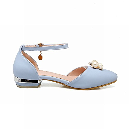 Court Shoes Dolly Ankle Shoes Faux Strap Pearl Blue Mee Women's CpHnH0