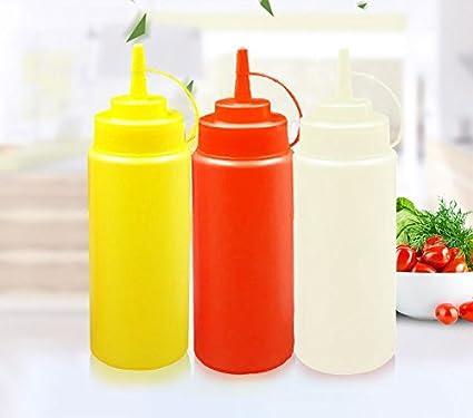 6 Pack 12 oz/16 oz plástico transparente Squeeze botella dispensador de condimentos Ketchup Mostaza