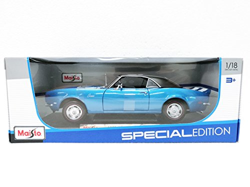 Maisto Blue 1968 Chevrolet Camaro Z/28 - 1:18 Diecast Model Car Black Special Edition