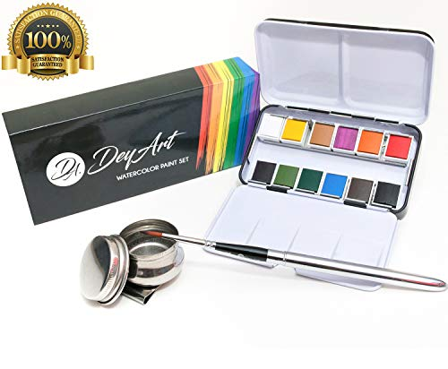 Watercolor Paint Set - 12 Essential Vibrant Water Color with Travel Brush & Pallet Cup Included - Built-in Palette - Portable, Non-Toxic Watercolor Travel Set for Adults or Kids