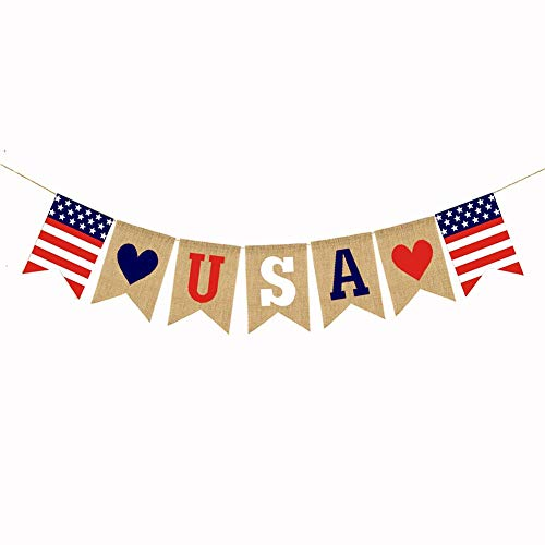 American Burlap Banner, 4th of July Banner American Independence Day Decor, Burlap Bunting Sign, Red White and Blue Theme Party Supplies]()