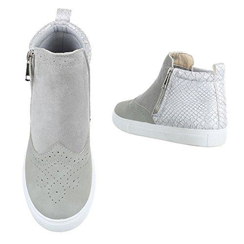 Ital-Design Klassische Stiefeletten Damenschuhe Schlupfstiefel Moderne Reißverschluss Stiefeletten Grau X-38