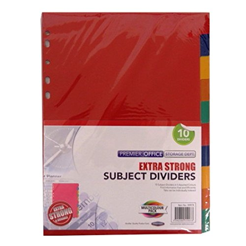 A4 Premier Multi Coloured Extra Strong Plastic Subject Dividers - 10 Dividers, Size 11.7 x 8.4'' + 0.5'' Tab