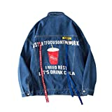 BACKBAL Men's Korean Version of The Ribbon Decoration Denim Jacket Jacket Hip Hop Style
