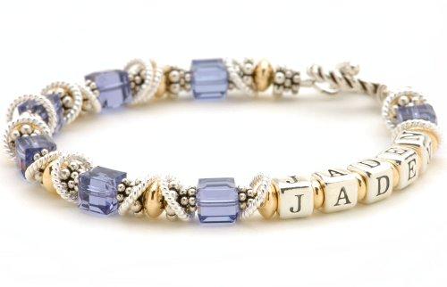 - Personalized Crystal Name Bracelet - Sterling Silver & 14k Gold-filled Beads