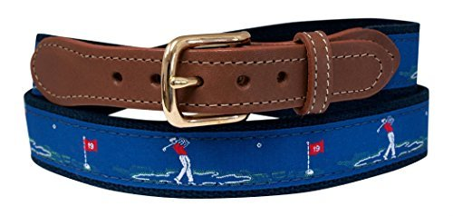Golf Belt, Embroidered Golfer on Navy Web 38 (Pant Waist Size - Golf Golfer Belt