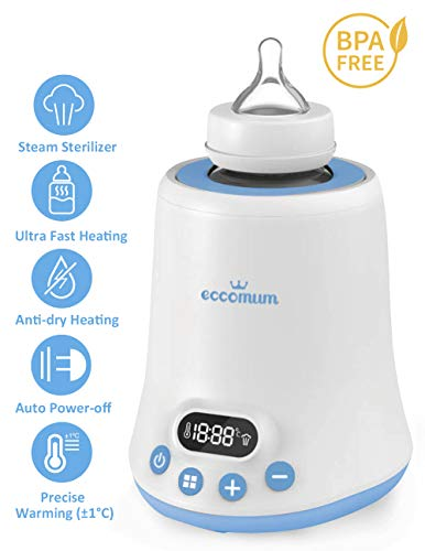 Baby Bottle Warmer, Eccomum Fast Breast Milk Warmer with a Timer, Baby Food Heater with LCD Display Accurate Temperature Control, Constant Mode, Fit All Baby Bottles from eccomum
