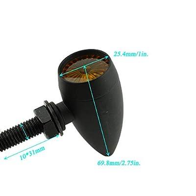 Motorcycle Turn Signal Blinker LED Indicator Brake Mini For Harley Honda Cafe Racer (Black - Amber light): Automotive