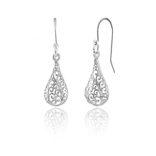 (Sterling Silver Teardrop Filigree Polished Dangle Earrings)