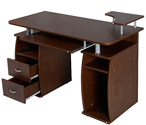 K&A Company Writing Computer Desk Table Student Storage Shelves Kids Room New Furniture Dorm Laptop Wood Corner Drawer Office Shelf Work Unit Workstation Walnut by K&A Company