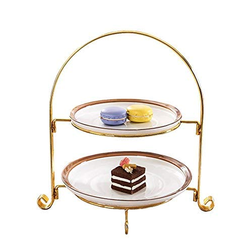Hiplle Round Platter Fruits Dessert Cake Stand,Tiered Serving Stand with 2-Tier Wire Hanging Basket Fruit Plate, European Two-Layer Snack Rack Pastry Dish Living Innovative Fruit Bowl Tray Shelf ()