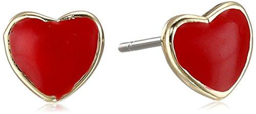 """Little Miss Twin Stars Girls'""""I Love My Jewels"""" 14k Gold-Plated Enamel Heart Stud Earrings by Little Miss Twin..."""