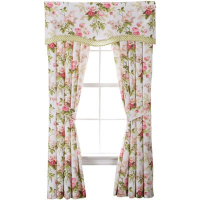 - Waverly 2-Pack Emma's Garden Blossom  Spring Floral 84-in Window Curtain Panels With Tiebacks and 1-Pack Valance