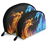 Makeup Bag Abstract Red Blue Fiery Dragon Portable Half Moon Clutch Pouch Bags Case For Women