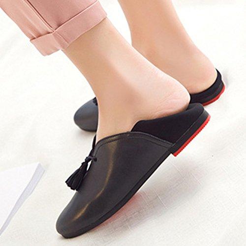 MatchLife Damen Schuh flache klassische Leder flachen tiefen bequemen weichen Schuhe Schwarz