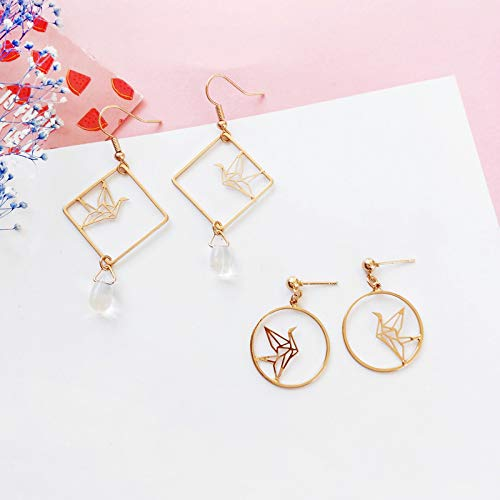 18K Gold Plated Simple Hollow Out Paper Cranes Water Droplets Pendant Dangle Hook Earrings For Women Girls by FURONGWANG (Image #3)