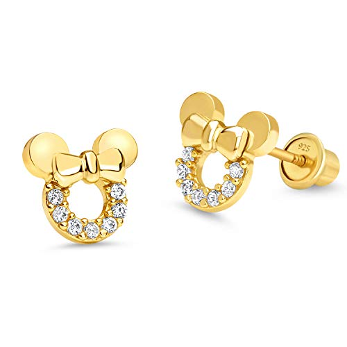 14k Gold Plated Brass Mouse Cubic Zirconia Screwback Baby Girls Earrings with Sterling Silver Post ()