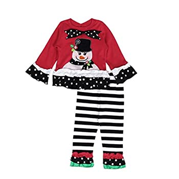 Efaster(TM) Christmas Snowman Baby Boy Girl Long Sleeve Top Shirt+Pant Outfits (12M)