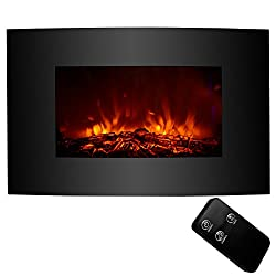 KUPPET Standing & Wall Mounted Electric Fireplace Space Heater in Rooms Stove Realistic Flame, Adjustable Heater, w/Remote, 750W(Low Heat)/1500W(High Heat), Black¡ by KUPPET